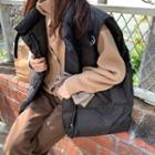 Plain Turtle-neck Loose-fit Sweater / Loose-fit Padded Vest