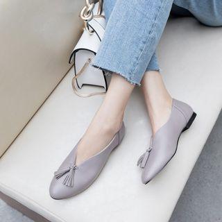 Genuine Leather Tasseled Flats