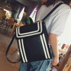 Faux-leather Stripe Contrast Backpack