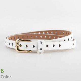 Heart Perforated Faux-leather Belt