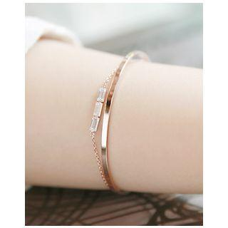 Rhinestone Chain-linked Open Bangle