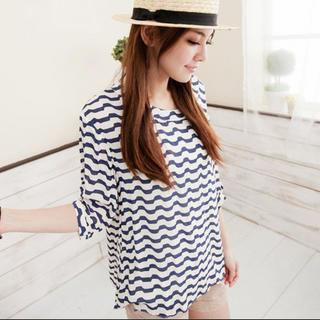 3/4-sleeve Patterned Top