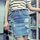 Distressed Studded Denim Skirt