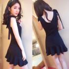 Plain Ruffle Hem Sleeveless Dress