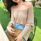 Plain Loose-fit Cropped Knit Top