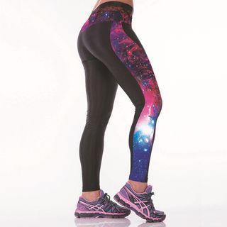 Galaxy-print Leggings  As Figure Shown - One Size