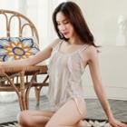 Set: Ruffle-trim Sheer Top + Panties Set - White - One Size