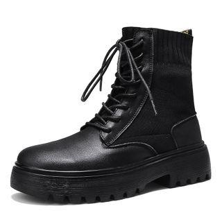 Genuine-leather Knit Panel Short Boots
