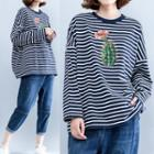 Floral Print Striped Long Sleeve T-shirt