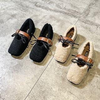 Square-toe Genuine Shearling Buckled Mary Jane Flats