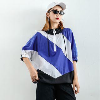 Loose-fit Colorblock Half-zip Hooded Top