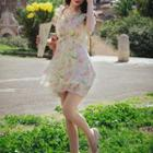 Floral Print Sleeveless Chiffon Frill Sheath Dress