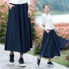 Linen Cotton Midi Skirt