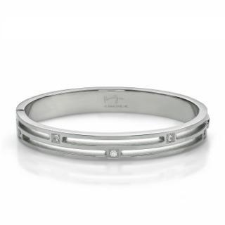 Crystal Striped Bangle(s) Steel - One Size