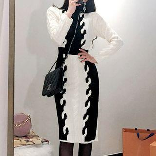 Turtleneck Color Block Long-sleeve Cable Knit Dress As Shown In Figure - One Size