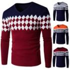 Argyle Patterned Color Panel Sweater