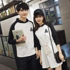 Couple Matching Hooded Panel Pullover/pullover Dress