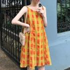Plaid Sleeveless Dress Plaid - Yellow - One Size