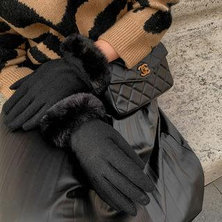 Eco-fur Trim Woolen Knit Gloves