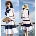 Striped Sleeveless Pleated Dress