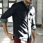 Stand Collar Long-sleeve Denim Shirt