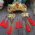 Traditional Wedding Tasseled Hair Pin / Earrings Set