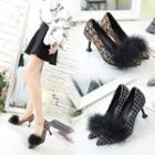 Furry Tweed Pumps