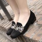 Studded Chunky Heel Loafers