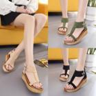 Faux-suede T-strap Platform Sandals