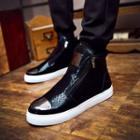 Patterned High-top Laceless Sneakers