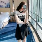 Long-sleeve Ruffled Lace A-line Mini Dress