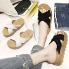Denim Platform Slide Sandals