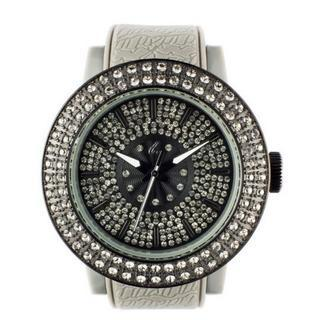 Diamond Lens Glass Gray Strap Watch