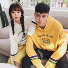 Couple Matching Lettering Hooded Pullover