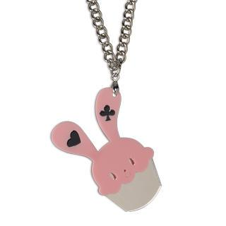Sweet Pink Bunny Cupcake Of Heart Silver Necklace