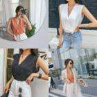 Wrap-front Sleeveless Chiffon Top
