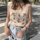 Embroidered Sleeveless Knit Top White - One Size