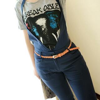 Faux-leather Braided Slim Belt