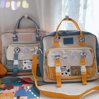 Buckled Pvc Panel Lightweight Messenger Bag