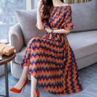 Off-shoulder Midi A-line Patterned Dress