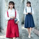 Flower Embroidered Midi Suspender Skirt