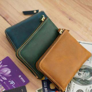 Genuine Leather Zip Coin Purse