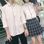 Couple Matching Contrast Trim Elbow-sleeve Shirt