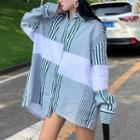 Striped Panel Long Shirt As Shown In Figure - One Size
