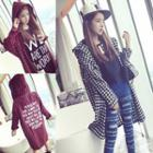 Letter Plaid Hooded Jacket
