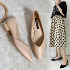 Pointed Faux Pearl Heel Pumps