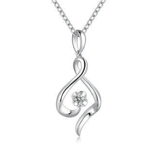18k/750 White Gold Ribbon Swirling And Flower Diamond Pendant (0.05 Ct) (free 925 Silver Box Chain)