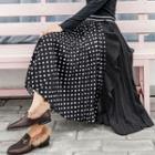 Dotted Asymmetric Panel Midi Pleated Skirt