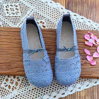 Crochet Panel Bow Accent Mary Jane Flats