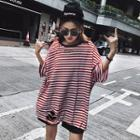 Striped Elbow-sleeve Ripped T-shirt